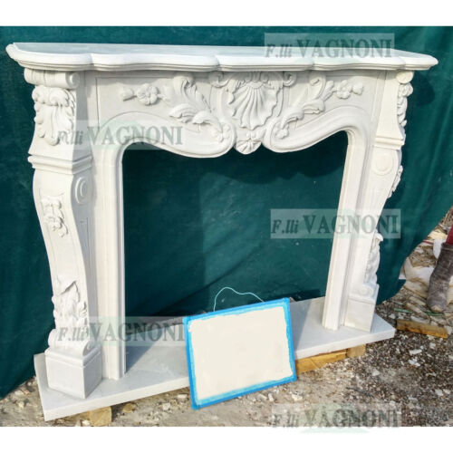 CORNICE CAMINO IN MARMO SCOLP.BIANCO 47 CM135-150 Classic Stone Marble Fireplace
