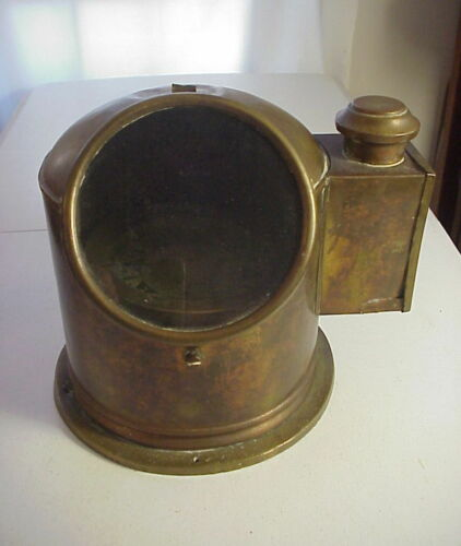 Antique BINNACLE BRASS SHIP'S COMPASS with OIL LAMP ILLUMINATION MADE in ENGLAND