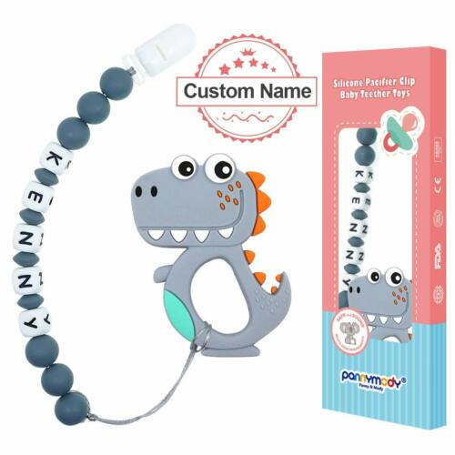 Personalised Dummy Clip Customised Name Pacifier clip with Dinosaur Baby Teether