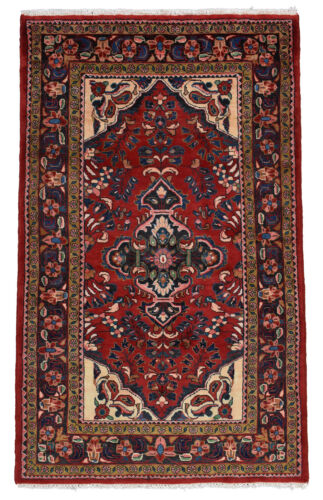 Vintage Oriental Malayer Rug, 4'x7', Red/Blue, Hand-Knotted Wool Pile