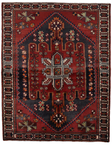 Vintage Persian Bakhtiari Rug, 5'x6', Red/Ivory, Hand-Knotted Wool Pile