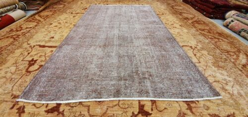 """Antique 1930-1940's Distressed Wool Pile Overdyed Oushak Area Rug 5'4""""×8'8"""""""
