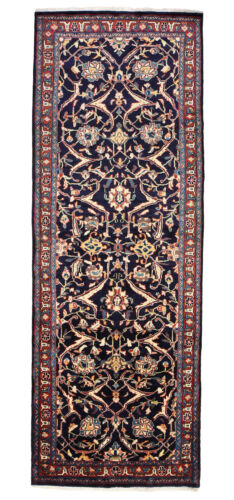 Vintage Oriental Malayer Runner Rug, 4'x11', Blue/Red, Hand-Knotted Wool Pile