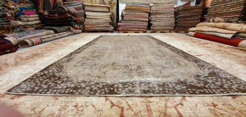 """Antique 1930-1940's Distressed Wool Pile Overdyed Oushak Area Rug 5'10"""" x 10'"""