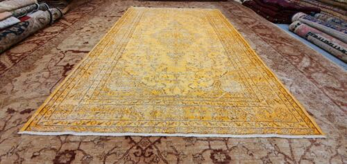 Antique 1930-1940's Distressed Wool Pile Orange Overdyed Oushak Area Rug 6×10'
