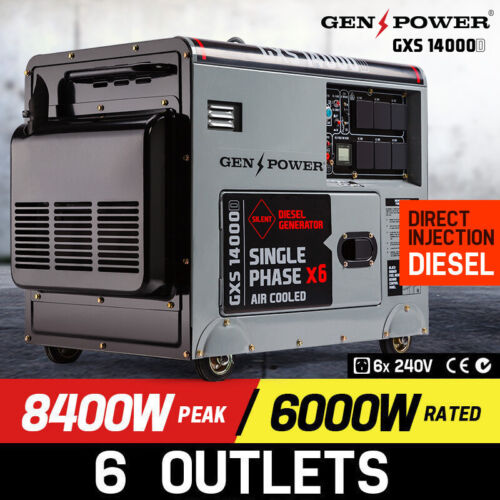 GENPOWER 8.4kVA Max 6kVA Rated Diesel 13HP Generator Single Commercial Back <br/> NO.1 IN GENERATORS Class Leading Diesel Power 1YR WTY