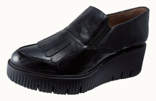 ZAPATOS MUJER/WOMENS SHOES WONDERS NEGRO/BLACK PIEL MOCASINES CHAROL Ref.E-6203