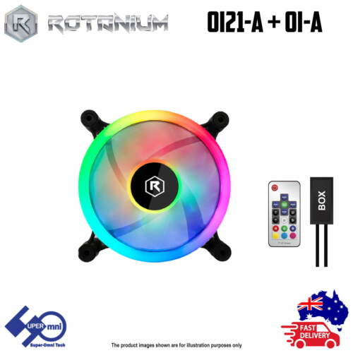 Computer ARGB Case Cooler 120mm Dual Fan Rotanium OI21-A with Controller Combo