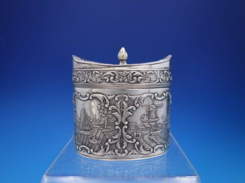 Dutch Silver Tea Caddy with Windmill Scenes and Finial Top Lid Vintage (#4486)