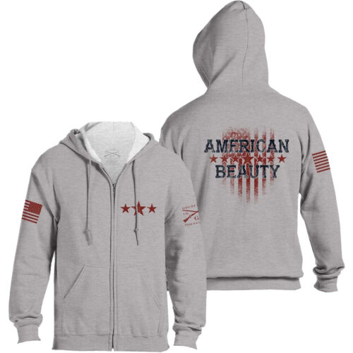 Grunt Style Women's Relaxed Fit American Beauty Full Zip Hoodie - Gray <br/> Exclusive Seller of Grunt Style on eBay