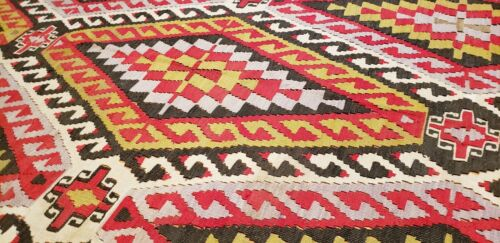 Pre- 1900's Antique Natural Dye Wool Flat-Woven Kilim Museum Qlty