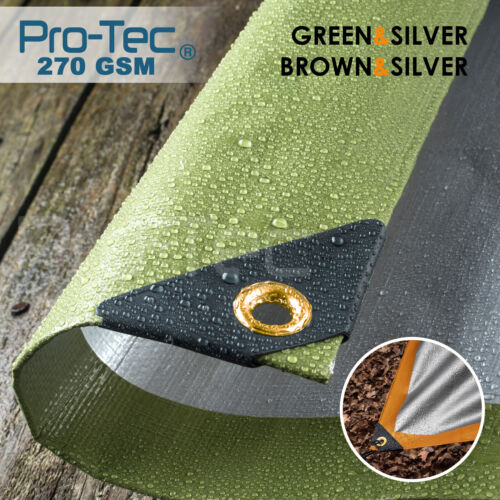 270GSM Tarpaulin Extra Heavy Duty Builders Waterproof Ground Sheet Cover Green <br/> CHECK OUT! OUR COMPLETE RANGE OF SIZE OPTIONS & COLOURS