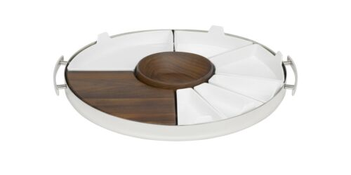 Mood Party by Christofle Stainless, Walnut Wood and Poorcelain Tray - New