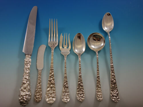 Baltimore Rose by Schofield Sterling Silver Flatware Set 8 Service 59 pcs Dinner