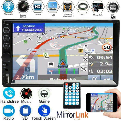"""7"""" Double 2 DIN Car Stereo Radio Mp5 Video FM Camera Mirrorlink For GPS Android"""