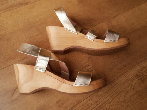 RRP £148 - FREE PEOPLE CLOGS Gold Leather Strappy Sandals Mules UK 5 / 38 - NEW