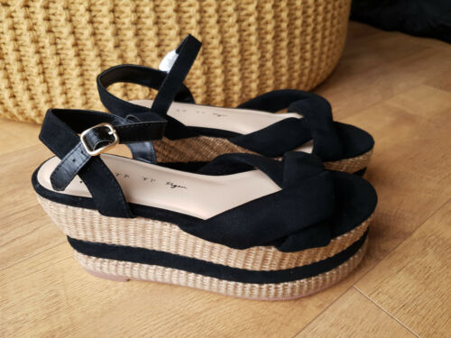 RRP £148 - FREE PEOPLE VEGAN SANDALS Black Strappy Straw Platfrom UK 7 / 40 NEW