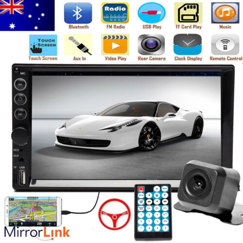 "7"" Double 2DIN Car Stereo In-Dash Head Unit Radio+Free Camera Mirrorlink For GPS"