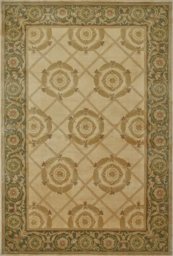 Sino Transitional Rug 120 Line, 6'x9', Beige/Green, Hand-Knotted Wool Pile