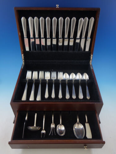 William and Mary by Lunt Sterling Silver Flatware Set for 12 Service 55 pieces