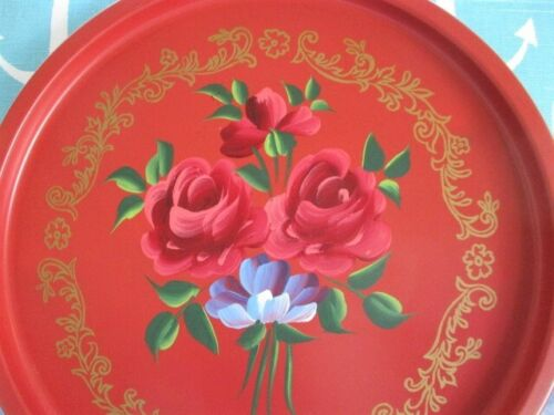 Vintage French Country Valentine Red Tole Tray w/ Hand Painted Pink Roses