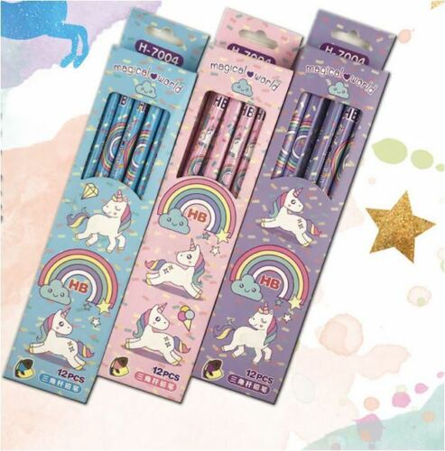 12pcs Unicorn Pencil For Birthday Party Lolly Bag Gift School Aword Present