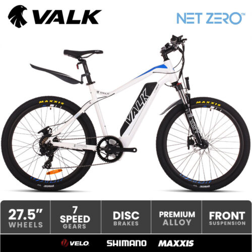 """VALK Electric Bike eBike Motorized Battery Bicycle Mountain eMTB 36V 250W <br/> 27.5"""" Maxxis Pace Tyres I Velo saddle I Shimano SIS"""