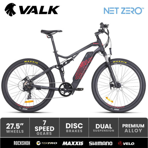 VALK Electric Bike eBike Battery Dual Suspension Mountain eMTB 36V 250W <br/> Dual Suspension with RockShox I Maxxis Tyres I Velo