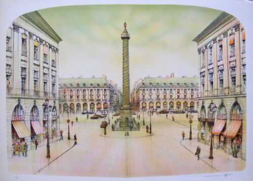 ROLF RAFFLEWSKI PARIS PLACE VENDOME Hand Signed Ltd Editon Lithograph French Art