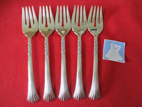 (5) Oneida LTD Silverplate Salad Forks, Floral Queen  #22