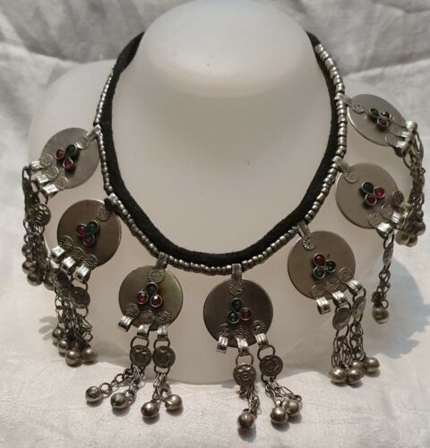 North African Berber Silver Vintage Morocco Necklace Glass Beads, Handmade