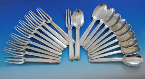 Bayonne by Puiforcat France Sterling Silver Flatware Set Service Dessert 20 pcs