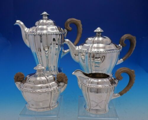 German .800 Silver Arts and Crafts Tea Set 4pc Hammered w/Wood Beaded Edge #4551
