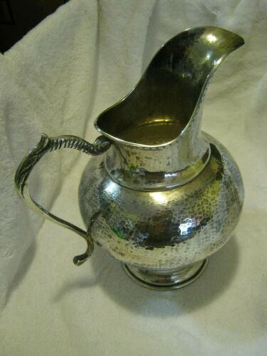 "0925 Silver mark, Sterling 9"" Water Pitcher, Hammered Finish 584 grams, Italy?"