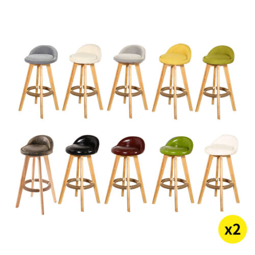 2x Bar Stools Swivel Stool Kitchen Wooden Chairs Leather Fabric Barstools
