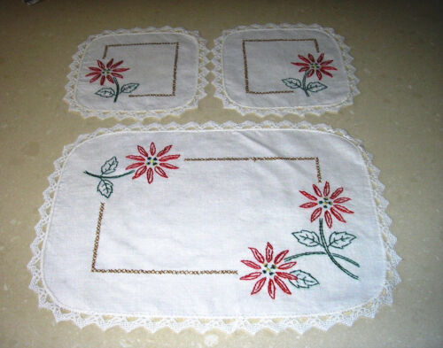 Beautiful Vintage Embroidered Doilies x 3 - Duchess Set