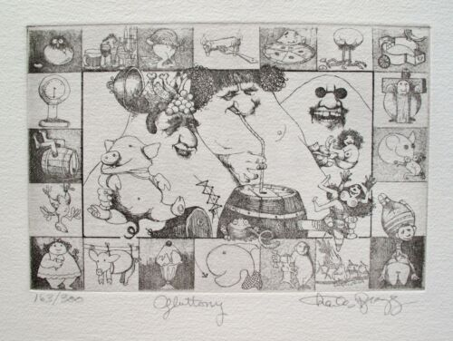"""CHARLES BRAGG """"GLUTTONY"""" Hand Signed Limited Edition Fine Art Etching"""