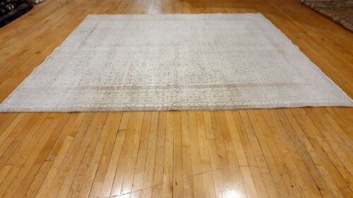Bohemian Antique 1939's Muted Wool Colored Distressed Oushak Area Rug 7x10ft