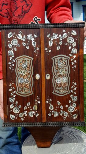 Antique Wood Spice Wall Cabinet INTRICATE INLAID SILVER METAL Floral VERY RARE!