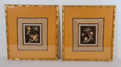 Pair Of Orange Asian Embroidery Silk Art Bugs And Flowers Bamboo Frame