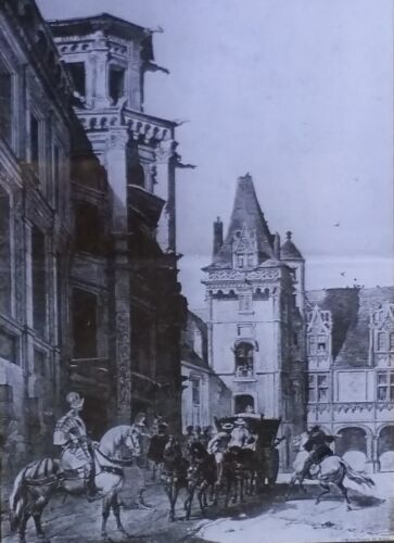 Courtyard, Blois Chateau, France, Magic Lantern Glass Slide, from 1889 Sketch