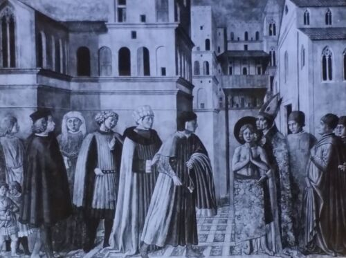 St. Agnes Protected from His Father, Gozzoli Benozzo, Magic Lantern Glass Slide