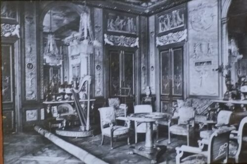 The Music Room, Palace of Fontainebleau, France, Magic Lantern Glass Photo Slide