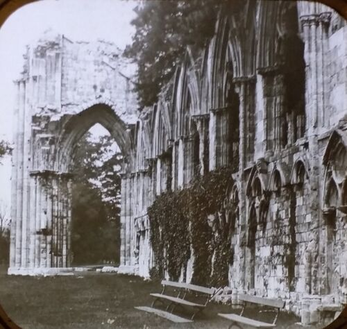 Ruins of St. Mary Abbey, York, England, Magic Lantern Glass Photo Slide