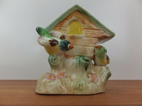 Vintage WALL VASE - Pair of Birds with Nesting Box In Tree