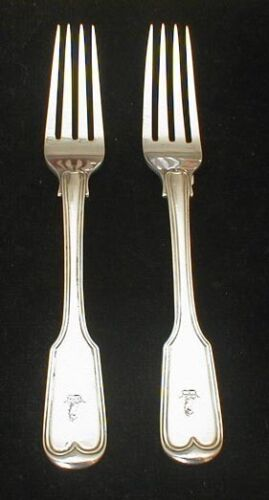English - London made FIDDLE THREAD forks - ca 1915