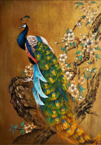 CHENPAT1186 color peacock with flowers hand painted oil painting art on canvas