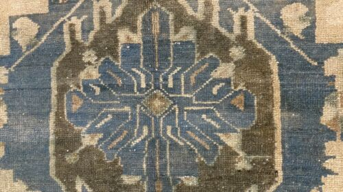 Antique Natural Dye Distressed Wool Pile Bohemian Oushak Area Rug 5x9ft