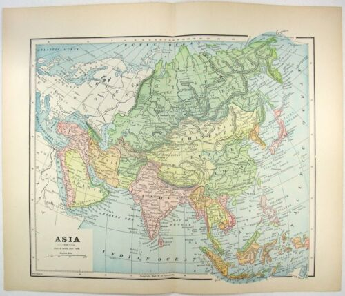 Original 1891 Map of Asia by Hunt & Eaton. Antique