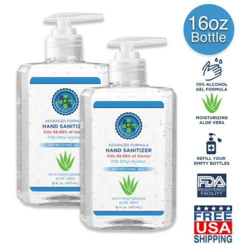 Hand Sanitizer Gel 32 OZ - 70% Alcohol w/ Aloe ✓ Made in USA ✓ FDA reg. Facility <br/> REFILL YOUR BOTTLES -FREE SHIPPING - ⭐⭐⭐⭐⭐- MADE IN USA